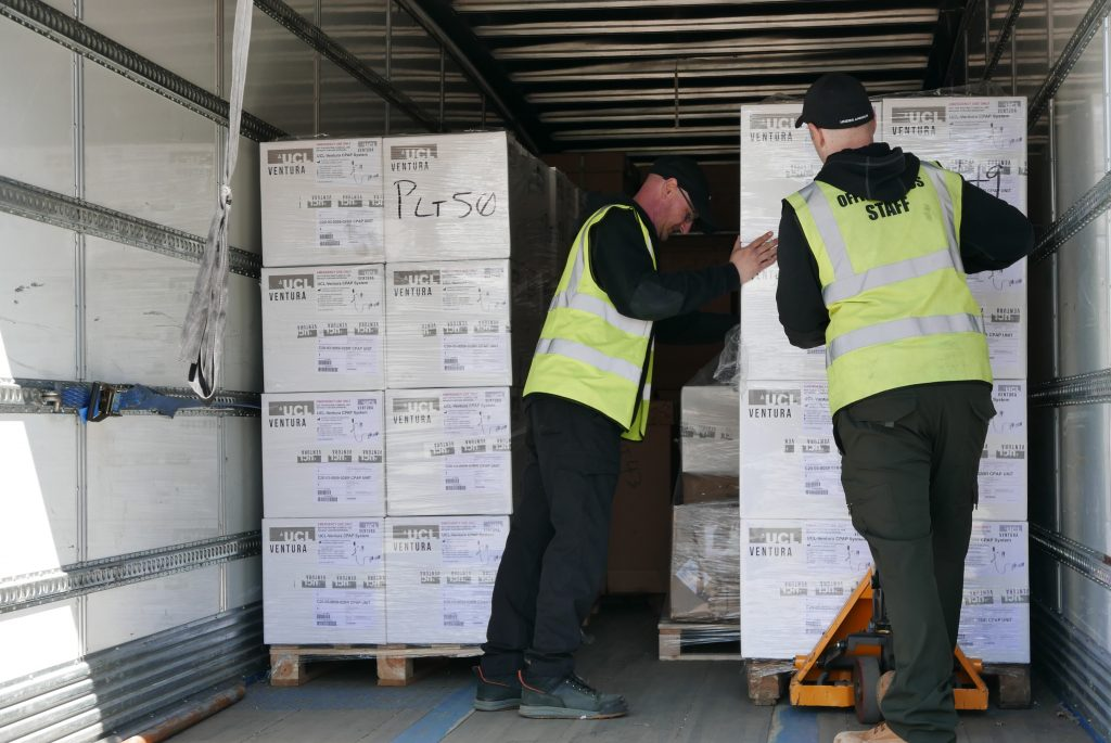 Ventilators being shipped from the UK to India in response to the coronavirus crisis, Sunday 25 April 2021. Plesase credit to: Foreign, Commonwealth & Development Office. Free for editorial media usage.